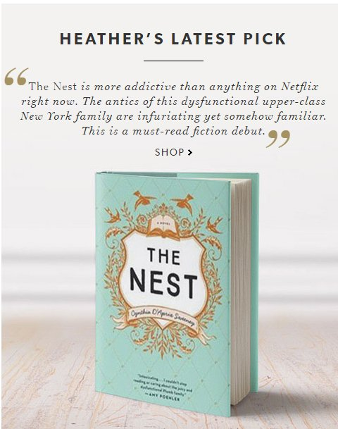 The Nest Cynthia D'Aprix Sweeney Heather's Pick Chapters Indigo