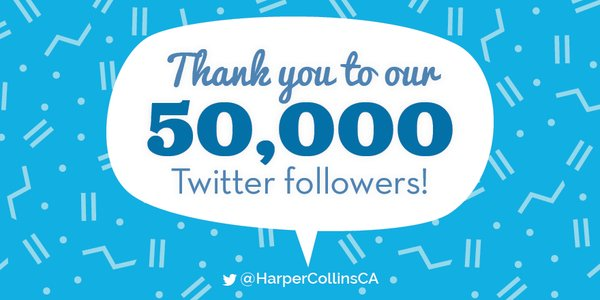 HarperCollinsCA 50000 Twitter Followers Giveaway