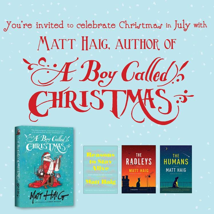 HarperCollins Canada Christmas In July with A Boy Called Christmas Author Matt Haig