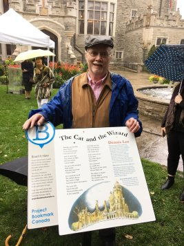 dennis-lee-at-casa-loma-for-the-cat-and-the-wizard-bookmark-unveiling