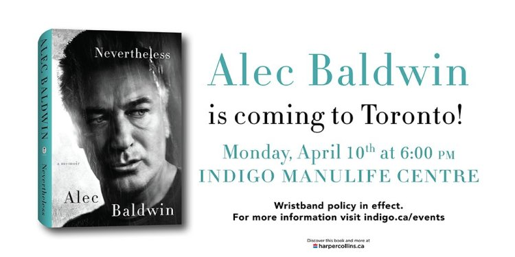 Alec Baldwin Toronto Book Tour Indigo Bay Bloor