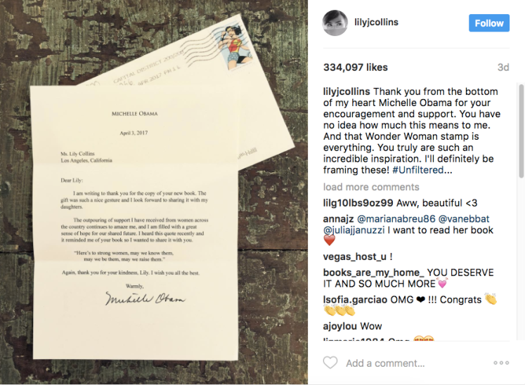 Lily Collins Michelle Obama Letter Unfiltered